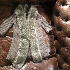 Faux Fur collar knit sweater cardigan